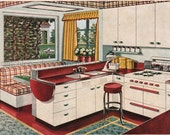vintag mid century modern kitchen design illustration digital download