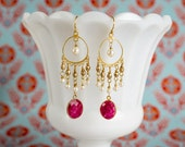 Ruby Chandelier Earrings Bollywood Bridal Pearl by MinouBazaar