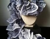 Springtime, sequined, mini pom-pom trimmed, lightweight ruffle scarf