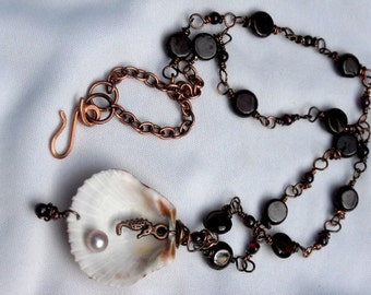 Wire Wrapped Garnet, Seashell with Seahorse, Pearl Pendant with Copper and Garnet Chain and Handmade Copper Clasp