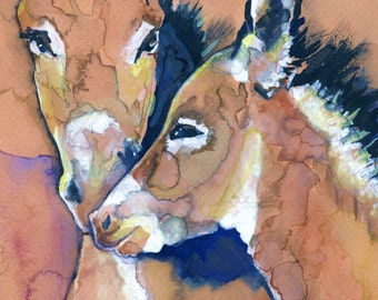 POSTER SIZED Wild Burros Watercolor Painting Print, Artist-Signed