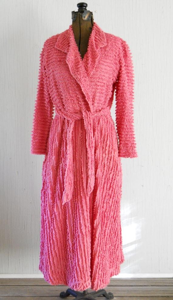 Vintage Cotton Ladies Chenille Bathrobe Coral