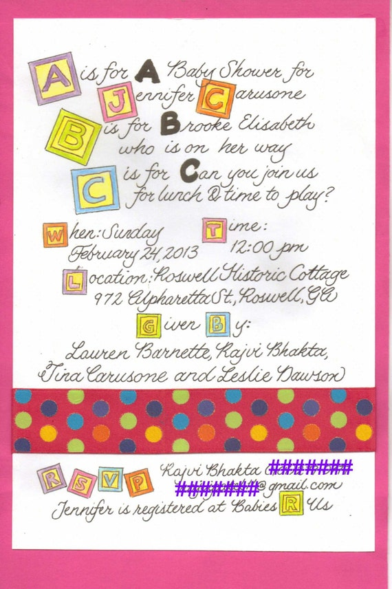 watercolor alphabet block baby shower invitation with calligraphy