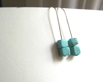 Silver drop earrings with turquoise cube beads, sterling silver modern jewelry