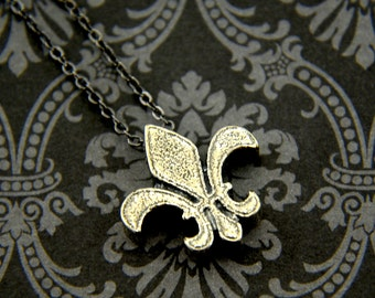 Two for One Sale....Silver Fleur De Lis Pendant Necklace Solid White Bronze with Sterling Silver Overlay
