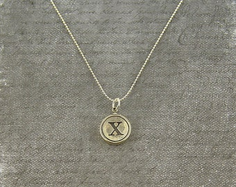 Letter X Necklace - Silver Initial Typewriter Key Charm Necklace - Gwen Delicious Jewelry Design GDJ