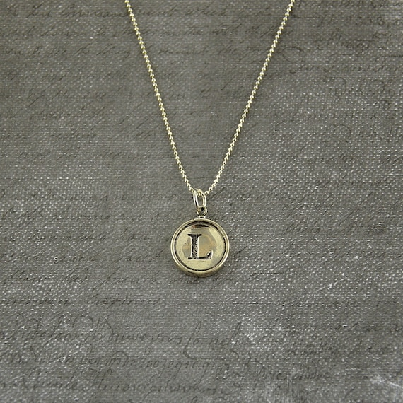 letter l necklace sterling silver initial typewriter key charm necklace gwen delicious jewelry design