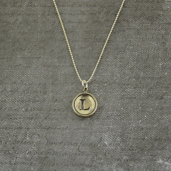Letter L Necklace - Sterling Silver Initial Typewriter Key Charm Necklace - Gwen Delicious Jewelry Design