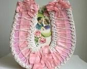 Vintage 1920s Pink Silk Ribbon & Ivory Crochet Bridal Lucky Horseshoe Frame