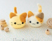 Japanese Needle Wool Felt Mascot DIY Kit - Kawaii Twin Cats - Midori Hattori - Hamanaka Wool Felt Animal Kit - Japanese Felting Supply,  F13