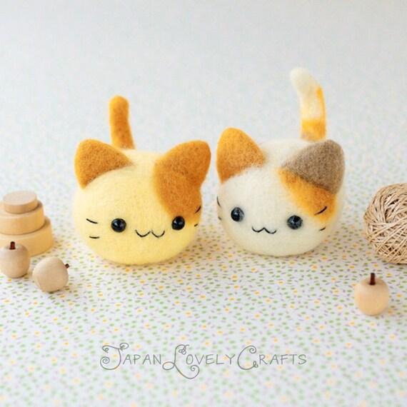 Japanese needle wool felt mascot diy kit kawaii twin cats for Felt cat toys diy