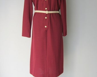Vintage Burgandy Shirt Dress by Jennifer Gee