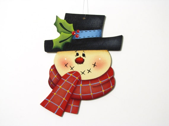 Snowman with Red Scarf Ornament, Handpainted Wood