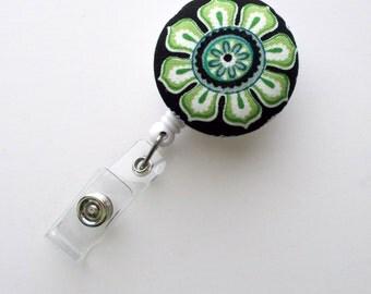 Green Pinwheel Floral - Cute ID Badge Reel - Nurse Badge Holder - Nursing Badge Reel - Retractable ID Badge Reel - Teacher Badge