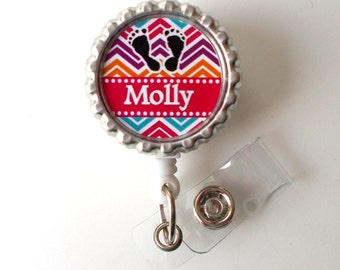Personalized Chevron Baby Feet  - RN Badge Holder - Nurse Badge Holder - Nursing Badge Holder - NICU Badge - Labor and Delivery  Badge Reel
