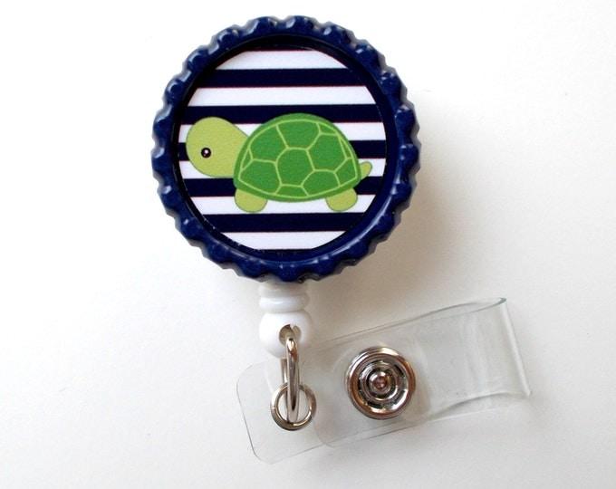 Turtle with Navy and White Stripes  - Name Badge Holder - Cute Badge Reel - ID Badge Reel -  Teacher Badge - RN Badge Holder - Nursing Badge
