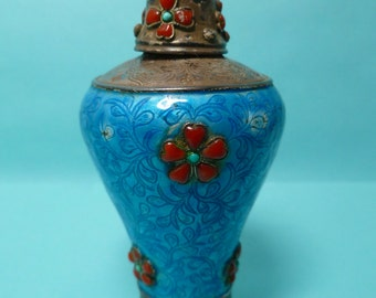 Art Deco Chinese Snuff Bottle Sterling and Enamel with Coral and Turquoise
