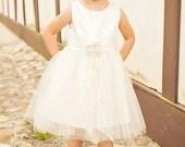Vintage style Flower Girl Dress,  natural Organic cotton flower girl dress, lace flower girl dress, tulle flower girl dress
