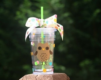 Personalized teacher gift - 16 oz Insulated cup with Owl, polka dots, and teacher name