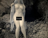 Nude in nature pagan naked art female model in forest infrared fine art photo print - Priestess in Infrared - 08 - MATURE