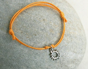 Sun Bracelet / Sun Anklet (gold or silver charm  and many cord color to choose)
