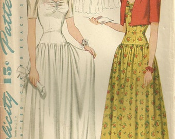 Vintage 40s Sewing Pattern Simplicity 4122 // Gown And Bolero // Size 14 Bust 32