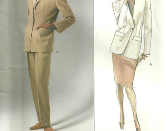 Vogue 2544 Vintage Designer Sewing Pattern By Anne Klein //  Pants Jacket Suit //  Sizes 6 8 10