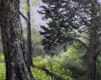Original Landscape Palette Knife Oil Painting - Over The Hill - 16 x 20