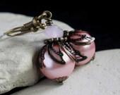Pink Pearl Glass Bead Earrings - A.85
