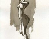Angular Stance  - 7.5 x 10 Brush Painting
