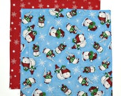 Christmas Napkin, Cloth Napkin, Kids Fabric Napkin, Snowman Napkin, 1 double sided napkin