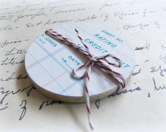 Vintage Ledger Paper Circle Journal Tags