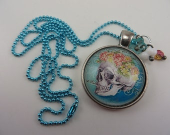 Blue Sugar Skull Necklace Flowers Boho Goth Free Shipping