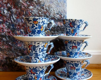 Mikasa Cathay 6 Cups 6 Saucers 1970s Midcentury Mod English Chintz Cobalt Blue Floral Hand Painted Red Yellow Accents White Semi Porcelain
