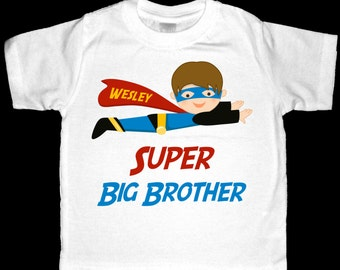 Personalized  Super Big Brother Superhero Shirt or Bodysuit - Customized to look like your child