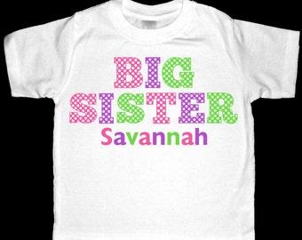 Personalized  Polka Dot Big Sister Shirt or Bodysuit - Pink, Purple, Lime Green Design - Can be personalized with ANY name