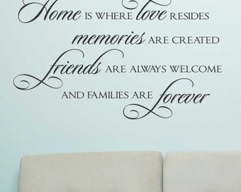 Home Love Resides Quote, Vinyl Wall Lettering, Vinyl Decals, Wall Decals, Vinyl Letters, Wall Quotes, Home and Family Decal