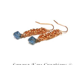 Ready To Ship  Byzantine Chainmaille Earrings in Copper with  Denim Blue   Swarovski Crystal Accents