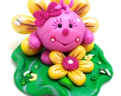 FLOWER Lolly Figurine - Polymer Clay StoryBook Scene Sculpture