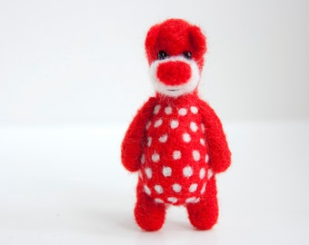 SUMMER SALE! -40% !! Red felted bear brooch with white polka dots