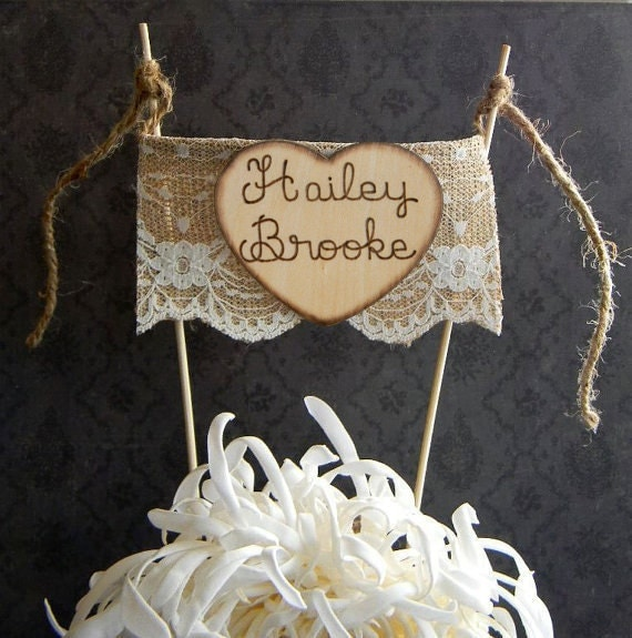 Rustic Cake Topper Burlap Cake Topper Shabby Chic Cake: Burlap & Lace Baby Shower Cake Topper Bunting By Justforkeeps
