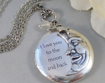 To The Moon,Locket,Silver Locket,Moon,Luna,Rabbit,Love You,Antique Locket,Antique,Woodland,Love You. Handmade jewelry by valleygirldesigns.