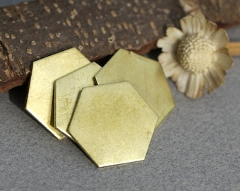 Bronze Hexagon  20g 20mm Blanks Cutout for Metalworking Stamping Texturing Blank - 4 pieces