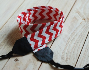 Red Chevron SLR Camera Strap with Leather Ends- Free Shipping