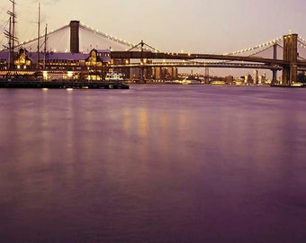 Travel Photography, Brooklyn Bridge, New York Print, Purple, Gold, NYC Art, New York Photography
