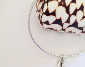 Sterling Silver Cowrie Shell Charm Bangle