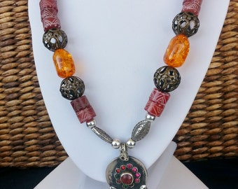 Big Bold colorful African Tribal Vintage Unisex long beaded pendant necklace