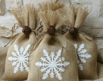 Burlap Gift Bags, Set of FOUR, Hand Painted Snowflake, Shabby Chic Christmas Wrapping, White and Natural, Jingle Bell Tie On.
