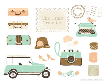 Vintage Wedding Photography Camera Car Automobile Suitcases Typewriter Stamp Clipart for personal and commercial use - by Reani on Etsy