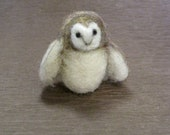 Needle Felted Animal, Barn Owl, Needle Felted Owl, small bird, Waldorf toy, miniatures, Original design by Borbala Arvai, made to order